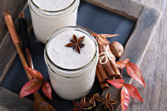 Warm frothy milk with spices. Warm frothy milk with syrup and winter spices Royalty Free Stock Photography