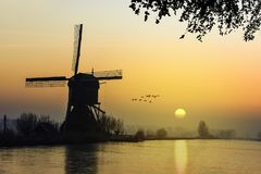 Warm and frozen windmill sunrise. Geese flying over a beautiful early morning and warm Kinderdijk sunrise on windmills and loading platform nearby Alblasserdam Stock Images