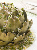 Warm Globe Artichoke Vinaigrette Stock Photos