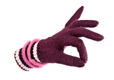 Warm glove shows Ok Stock Photography