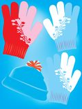 Warm gloves and hat Royalty Free Stock Photos