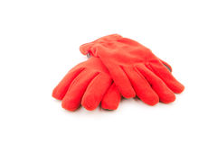 Warm gloves,Red wool gloves on white background Stock Photo