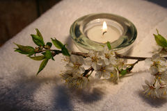 Warm glow. Essentials products for spa therapy stock image