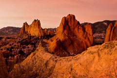 Warm Glow at garden of the Gods. The sunrise warms of the rock formations at Garden of the Gods park in Colorado Springs royalty free stock photography