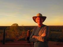 Portrait of Man at Sunrise, Australian Outback