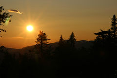 Warm Glow. A warm glow sunset over the mountains Stock Images