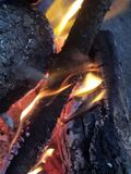 Fiery campfire flames royalty free stock photography