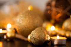 Warm gold and red Christmas candlelight background Royalty Free Stock Image