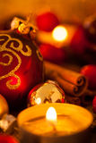Warm gold and red Christmas candlelight background Stock Images