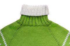 Warm green woolen knitted sweater - isolated object Royalty Free Stock Photo
