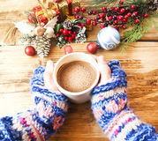 Warm Hands Holding Chocolate Cup Royalty Free Stock Photo