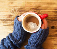 Warm Hands Holding Chocolate Cup Stock Photos