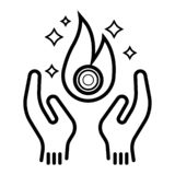 Warm hands icon stock illustration
