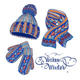 Warm hat mittens scarf color doodle. Winter warm knitted accessories pictograms of hat mittens and scarf colorful doodle style abstract vector  illustration Stock Photography