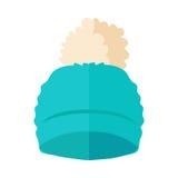 Warm Hat with Pompon Flat Design Illustration. Warm blue hat with pompon vector. Flat design Stock Photo