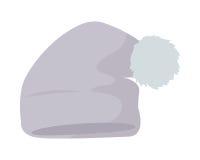 Warm Hat with Pompon Flat Design Illustration. Warm grey hat with pompon vector. Flat design Royalty Free Stock Photos