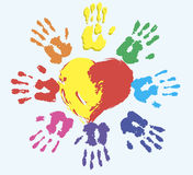 Warm heart. Image of the heart and palm prints. vector Royalty Free Stock Photo
