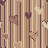 Warm Hearts Pattern. A pattern of warm brown hearts on a striped background Vector Illustration