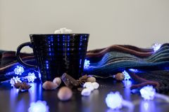 Hot Chocolate with Marshmallows and Decorations. Warm Hot Chocolate with Marshmallows Wintery Scene Display Stock Photos