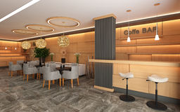 Warm Hotel Lobby with Wood Wall Royalty Free Stock Images