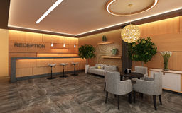 Warm Hotel Lobby with Wood Wall Stock Photography