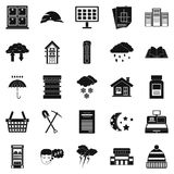 Warm house icons set, simple style. Warm house icons set. Simple set of 25 warm house vector icons for web isolated on white background stock illustration