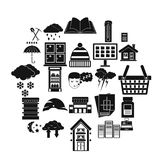 Warm house icons set, simple style. Warm house icons set. Simple set of 25 warm house vector icons for web isolated on white background vector illustration