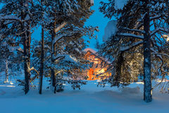 Warm house in snowy night winter forest. Winter fairytale landscape - Wooden house with warm light in night snowy winter forest, big size Stock Images