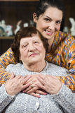 Warm hug with lots of love. Of a granddaughter who is visiting  her grandmother,check also  Grandmother Stock Photos
