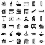 Warm icons set, simple style. Warm icons set. Simple style of 36 warm vector icons for web isolated on white background Stock Image