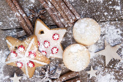 Warm image of Christmas foods on rustic style wooden background Stock Images