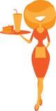 Waitress. Warm image of a cute waitress royalty free illustration