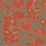 Warm japanese beautiful red floral pattern Stock Photography