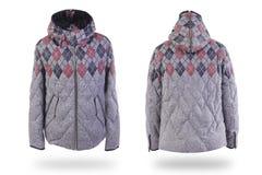 Warm jasje met een patroon dat op wit wordt geïsoleerd stock afbeeldingen
