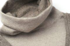 Warm khaki Cashmere pullover collar. Wool coat Cashmere pullover collar stock photography