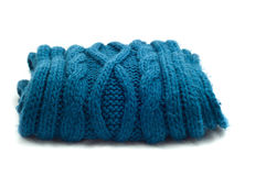 Warm knitted blue scarf Stock Image
