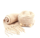 Warm knitted cap with a scarf Stock Photo