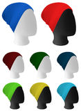Warm knitted hat template. Warm knitted hat on mannequin head template Royalty Free Stock Photo