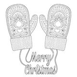 Warm knitted mittens in zentangle style with wishes  Royalty Free Stock Image