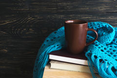 Warm knitted plaid, cup of tea and books Royalty Free Stock Photography