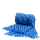Warm knitted scarf. Isolated on white Royalty Free Stock Photo