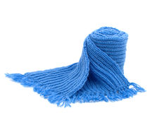 Warm knitted scarf. Isolated on white Stock Photography