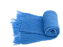 Warm knitted scarf. Isolated on white Stock Photo