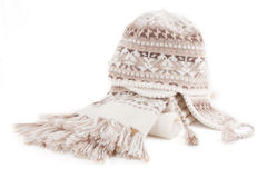 Warm knitted scarf and cap Stock Photos