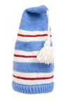 Warm knitted scarf and hat with stripes isolated Royalty Free Stock Photos