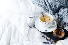 Warm knitted sweater,cup of hot tea. With lavander on tray in bed Stock Photo