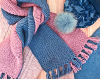 Warm knitted women's clothes Royalty Free Stock Images