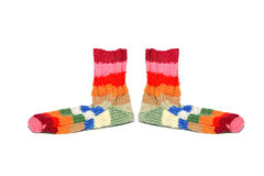 Warm knitted woolen socks knitting needles isolated on a white b Royalty Free Stock Photo