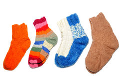 Warm knitted woolen socks knitting needles  Royalty Free Stock Photo