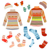 Warm knitting patterns with Stock Photos